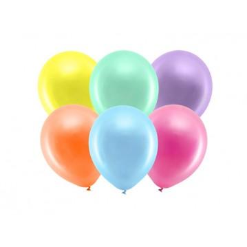 "10 stk Metallic mix farvet balloner - str 9"""