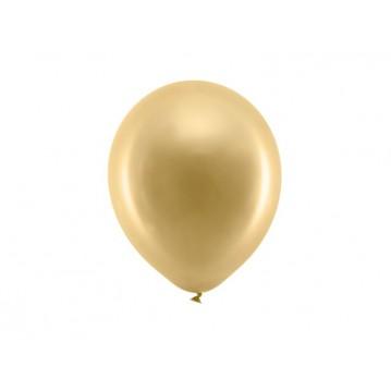 "10 stk Metallic guld balloner - str 9"""