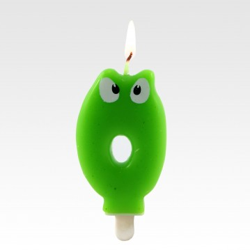 """1 stk. Fødselsdagslys """"0"""" grøn med øjne"""