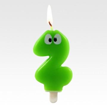 """1 stk. Fødselsdagslys """"2"""" grøn med øjne"""