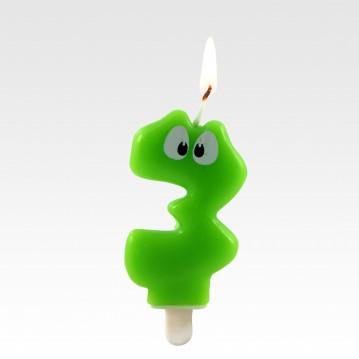 """1 stk. Fødselsdagslys """"3"""" grøn med øjne"""