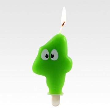"""1 stk. Fødselsdagslys """"4"""" grøn med øjne"""