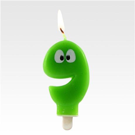 """1 stk. Fødselsdagslys """"9"""" grøn med øjne"""