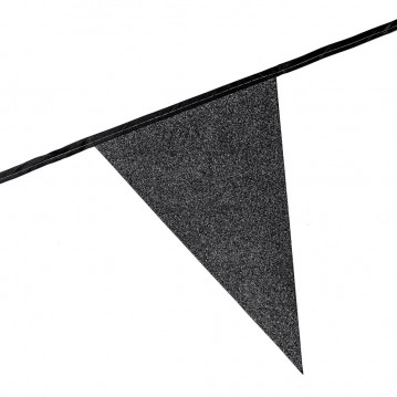 6 m. Vimpler med glitter sorte XL flag