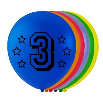 8 stk. 3 års fødselsdag mix balloner