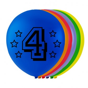 8 stk. 4 års fødselsdag mix balloner