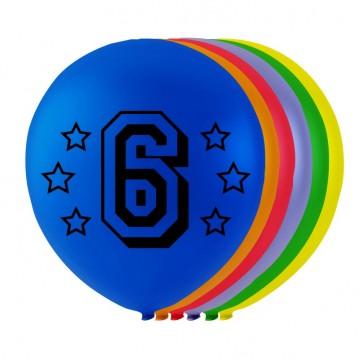 8 stk. 6 års fødselsdag mix balloner