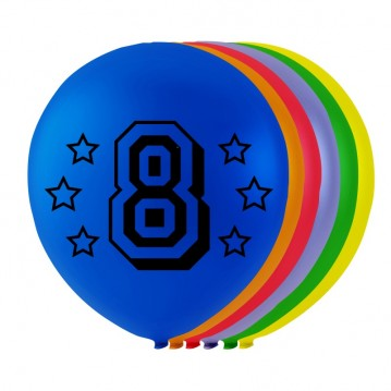 8 stk. 8 års fødselsdag mix balloner