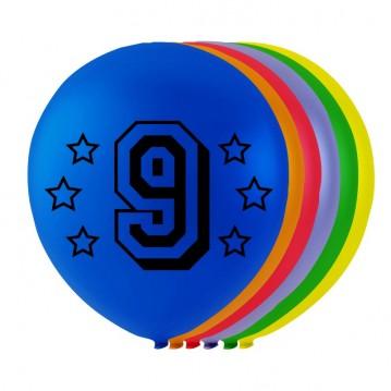 8 stk. 9 års fødselsdag mix balloner