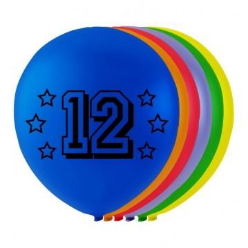 8 stk. 12 års fødselsdag mix balloner