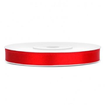 Satinbånd 6mm x 25m Rød - Glat silkelook