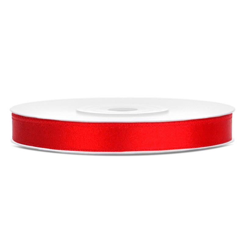 Billede af Satinbånd 6mm x 25m Rød - Glat silkelook