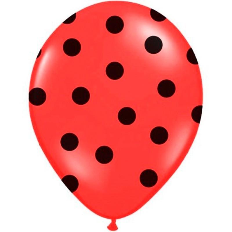 Billede af 6 stk Røde balloner med sort prikker