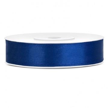 Satinbånd Mørke blå 12mm x 25m - Glat silkelook