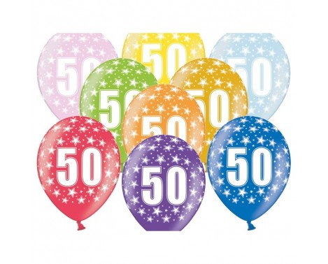 6 stk. 50 års fødselsdag mix metallice balloner