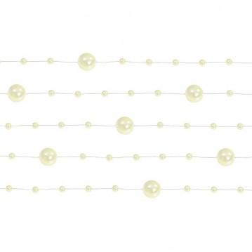 5 Stk. Creme perlekæde til dekoration - Pakke a 130 cm