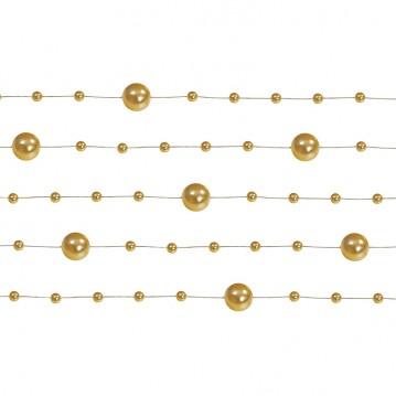 5 Stk. Guld farvet perlekæde til dekoration - Pakke a 130 cm