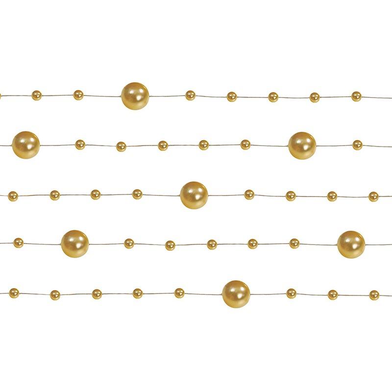 Billede af 5 Stk. Guld farvet perlekæde til dekoration - Pakke a 130 cm