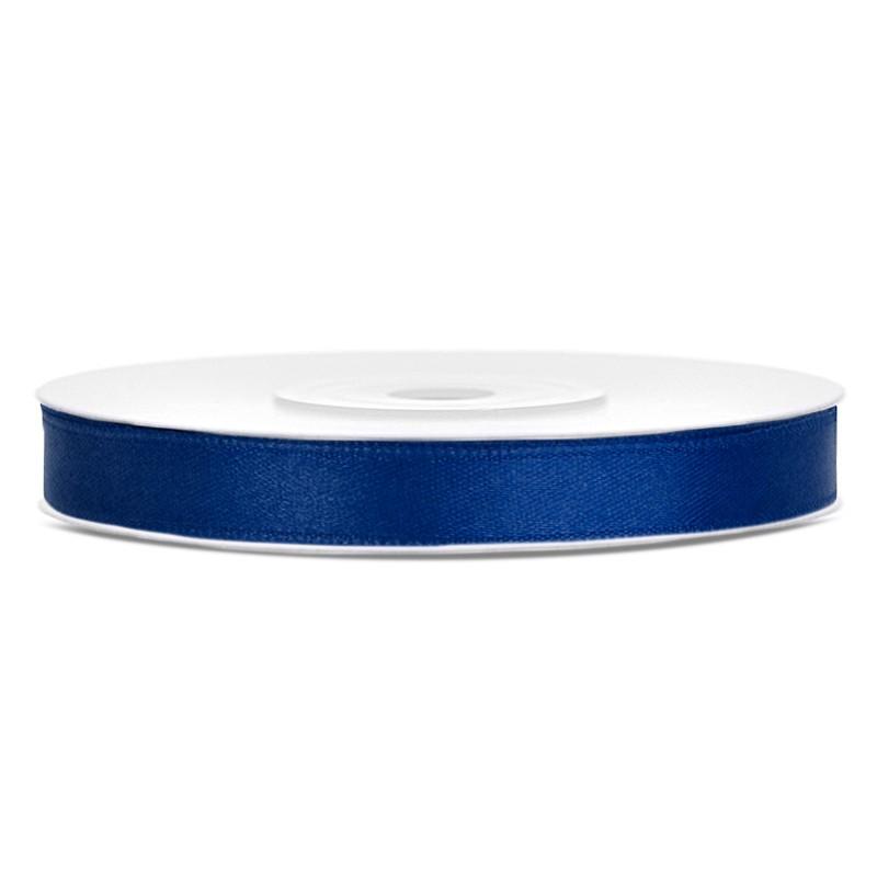 Billede af Satinbånd 6mm x 25m Mørke blå - Glat silkelook