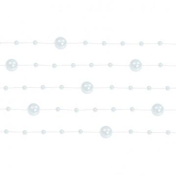 5 Stk. Hvid perlekæde til dekoration - Pakke a 130 cm