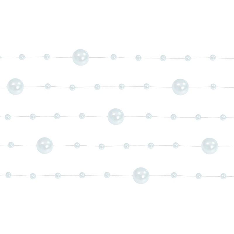 Billede af 5 Stk. Hvid perlekæde til dekoration - Pakke a 130 cm