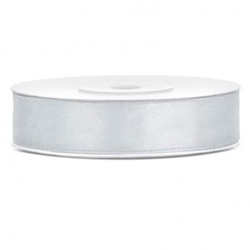 Satinbånd 12mm x 25m Sølv - Glat silkelook