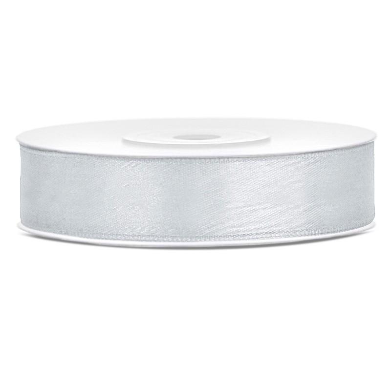 Billede af Satinbånd 12mm x 25m Sølv - Glat silkelook