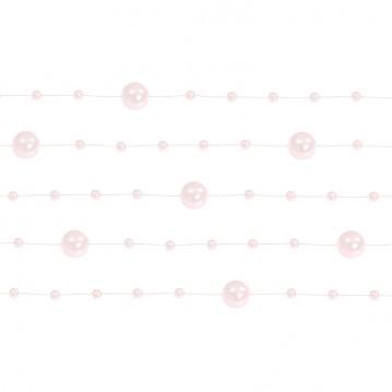 5 Stk. Sart pink perlekæde til dekoration - Pakke a 130 cm
