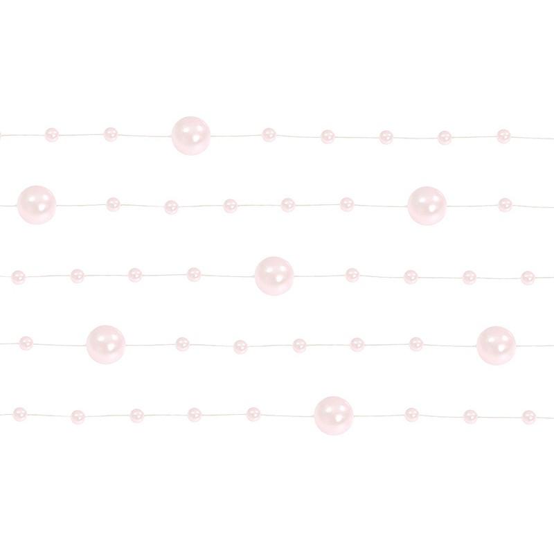 Billede af 5 Stk. Sart pink perlekæde til dekoration - Pakke a 130 cm