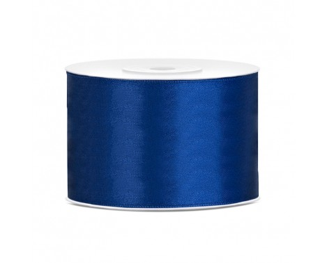 Satinbånd 50mm x 25m Mørke blå - Glat silkelook