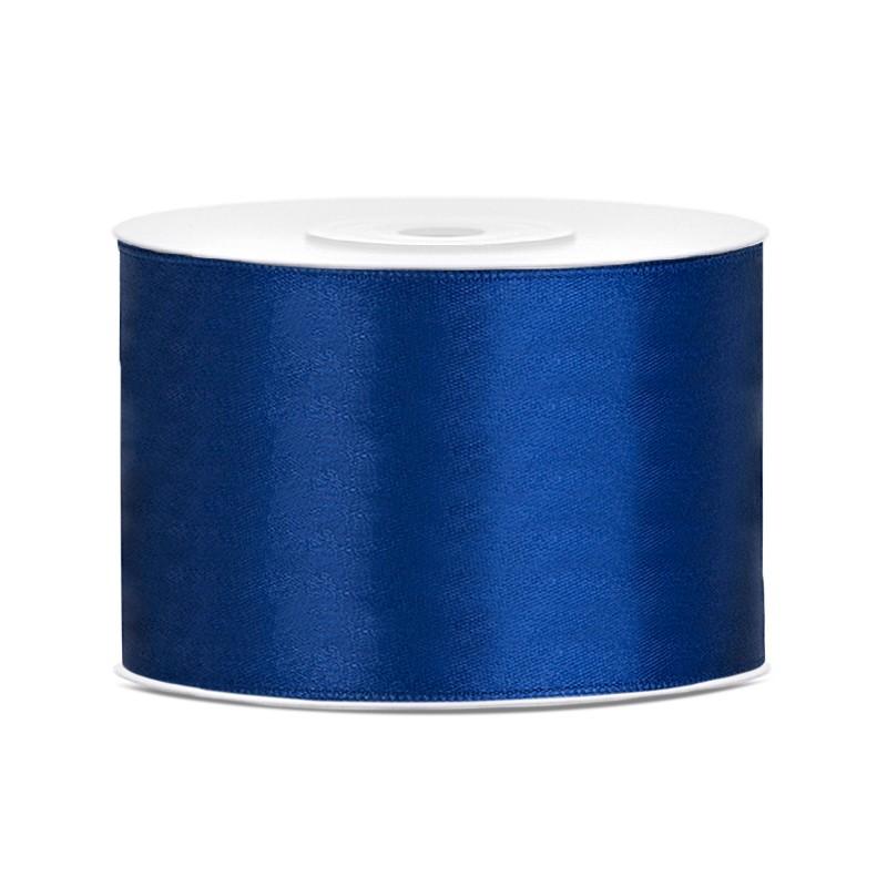 Billede af Satinbånd 50mm x 25m Mørke blå - Glat silkelook
