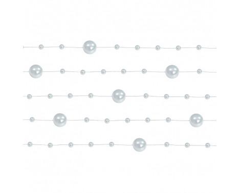 5 Stk. Sølv farvet perlekæde til dekoration - Pakke a 130 cm