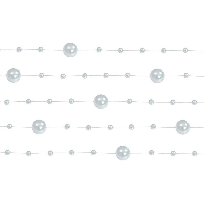 Billede af 5 Stk. Sølv farvet perlekæde til dekoration - Pakke a 130 cm