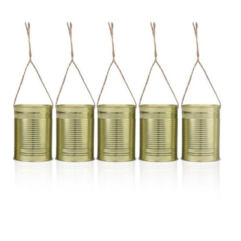Billede af 5 stk Dekorations dåser Guld