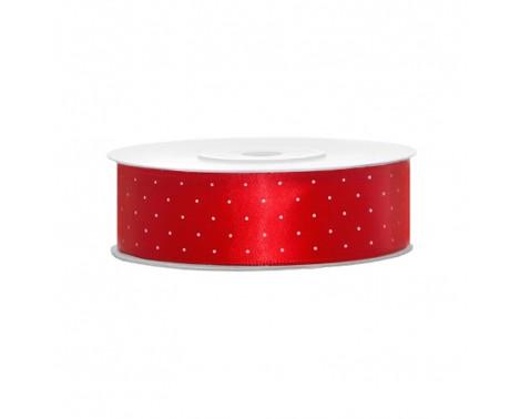 Satinbånd 25mm x 25m Rød med lyse prikker