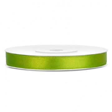 Satinbånd 6mm x 25m Lime - Glat silkelook