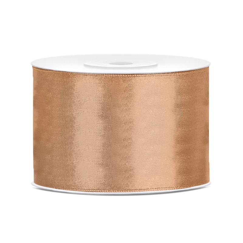 Billede af Satinbånd 50mm x 25m Guld - Glat silkelook