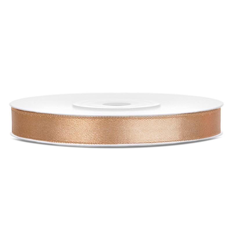Billede af Satinbånd 6mm x 25m Guld - Glat silkelook