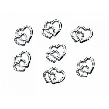 Hjerter 15 g i Sølv look bordpynt