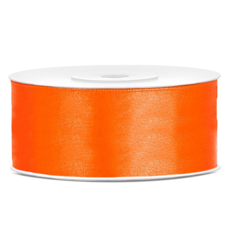 Billede af Satinbånd 25mm x 25m Orange - Glat silkelook