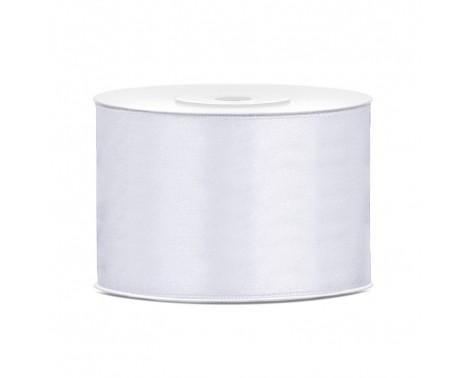Satinbånd 50mm x 25m Hvid - Glat silkelook