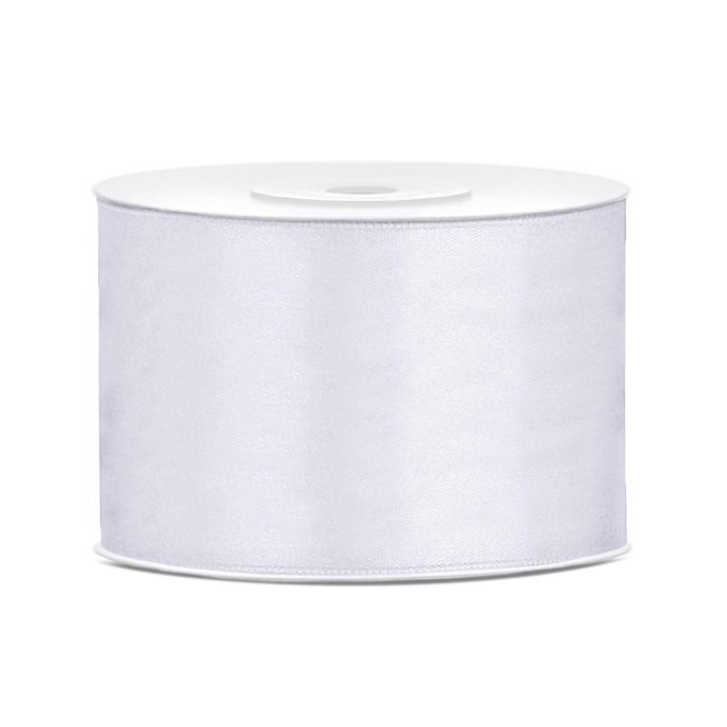 Billede af Satinbånd 50mm x 25m Hvid - Glat silkelook