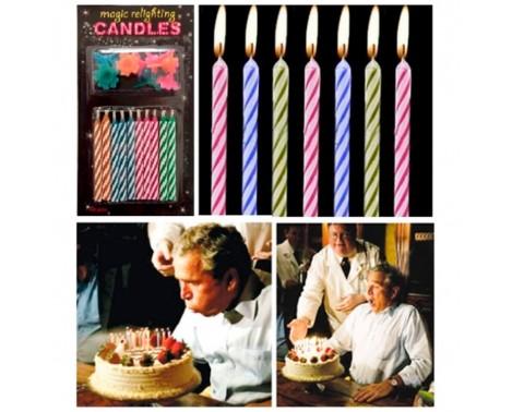 10 stk. Farvede Fødselsdagslys der tænder igen og igen