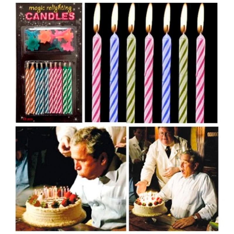 Billede af 10 stk. Farvede Fødselsdagslys der tænder igen og igen