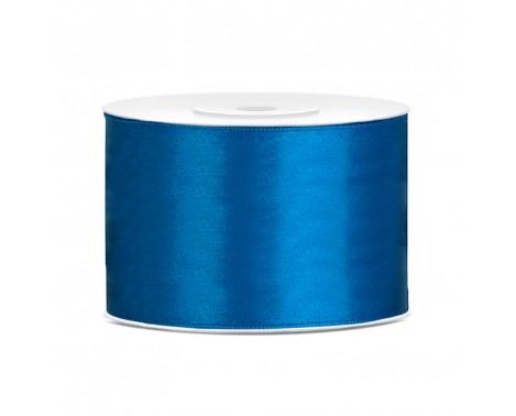 Satinbånd 50mm x 25m Blå - Glat silkelook