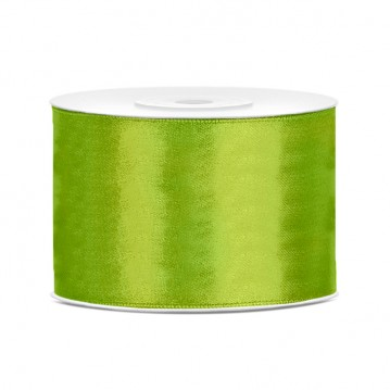 Satinbånd 50mm x 25m Lime - Glat silkelook