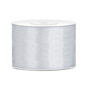 Satinbånd 50mm x 25m Sølv - Glat silkelook