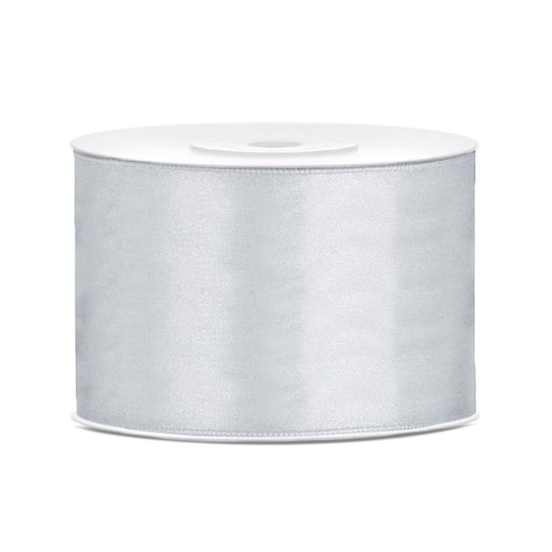 Billede af Satinbånd 50mm x 25m Sølv - Glat silkelook