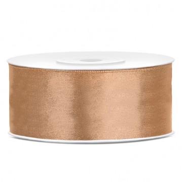 Satinbånd 25mm x 25m Guld - Glat silkelook