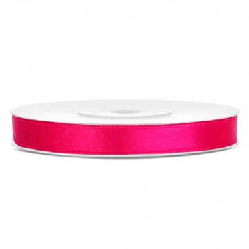 Satinbånd 6mm x 25m Mørke Pink - Glat silkelook